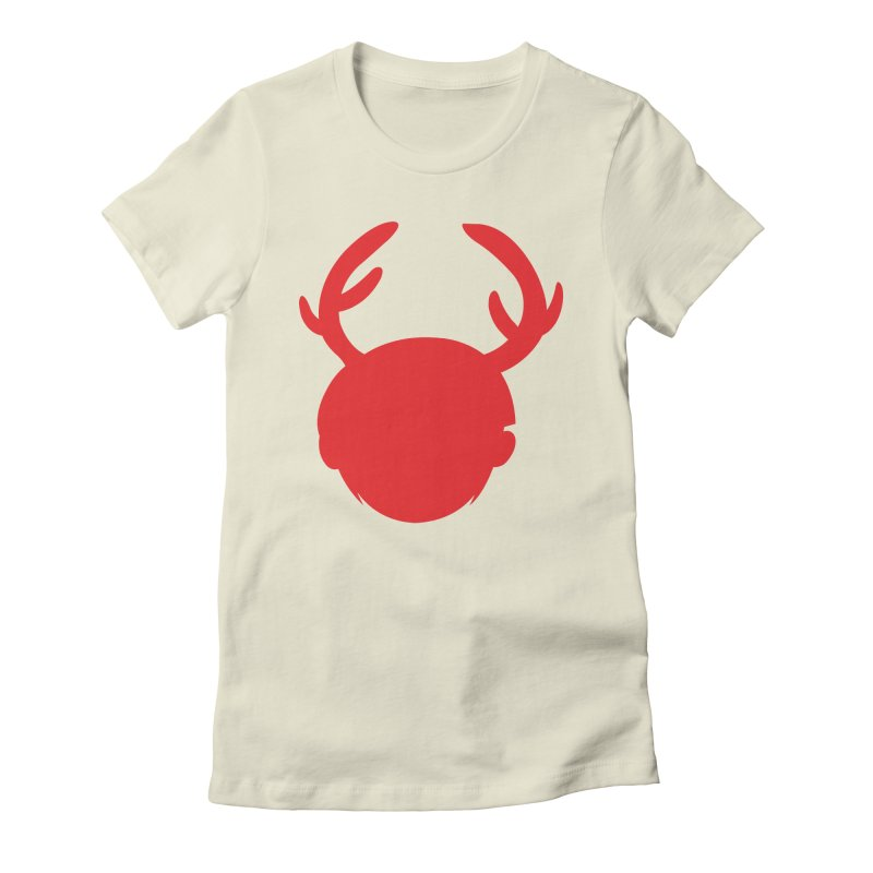 Silhouette Antlers Women's Fitted T-Shirt by Keith Noordzy's Artist Shop