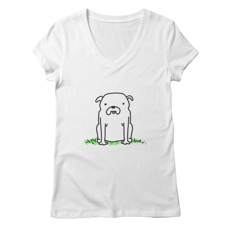 Dog Doodle Women's Regular V-Neck by kellabell9