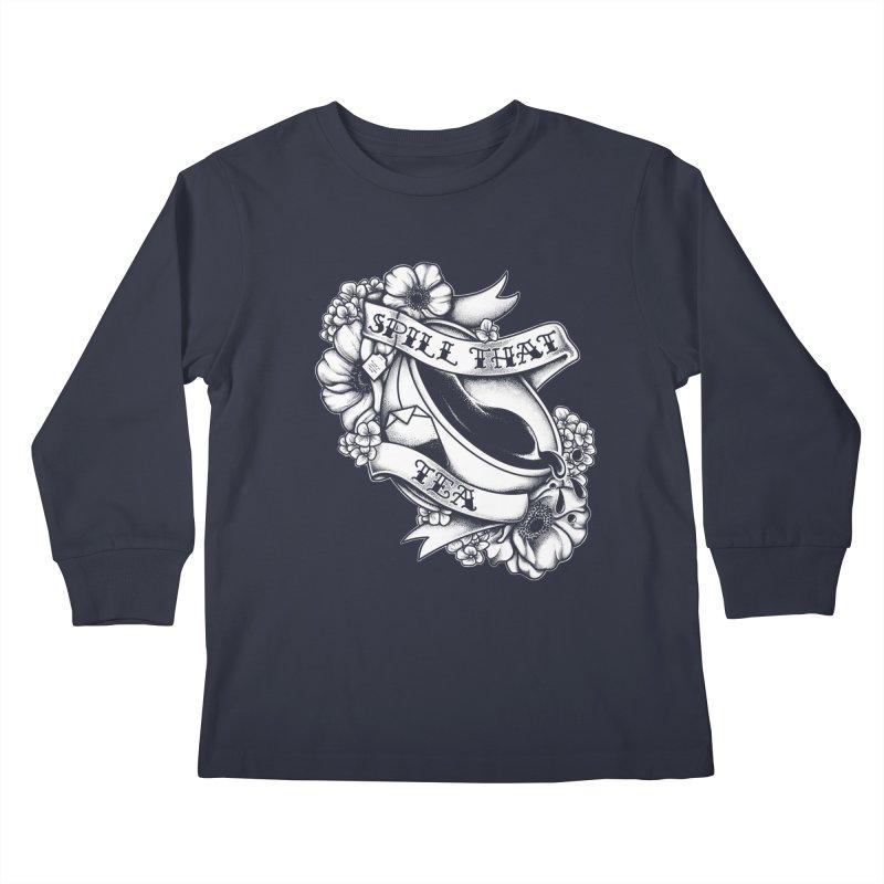 Spill That Tea Kids Longsleeve T-Shirt by kellabell9