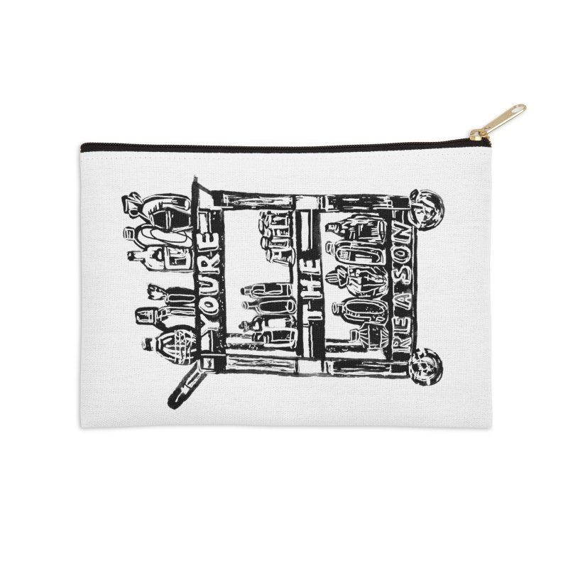 You're The Reason (vertical) Accessories Zip Pouch by Kelsey Zigmund Illustration
