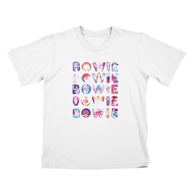 BOWIE BOWIE BOWIE BOWIE BOWIE Kids T-Shirt by Kelsey Zigmund Illustration