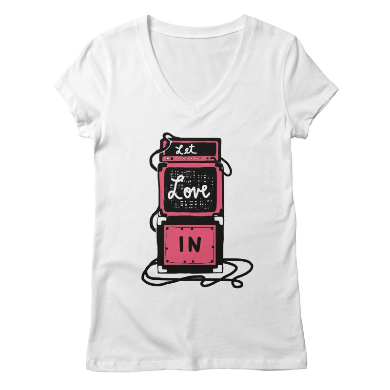 Let Love In Women's Regular V-Neck by Kelsey Zigmund Illustration