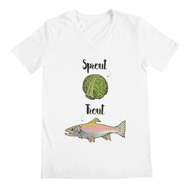 Sprout / Trout - Wordplay Illustration Men's V-Neck by Kelsorian T-shirt Shop
