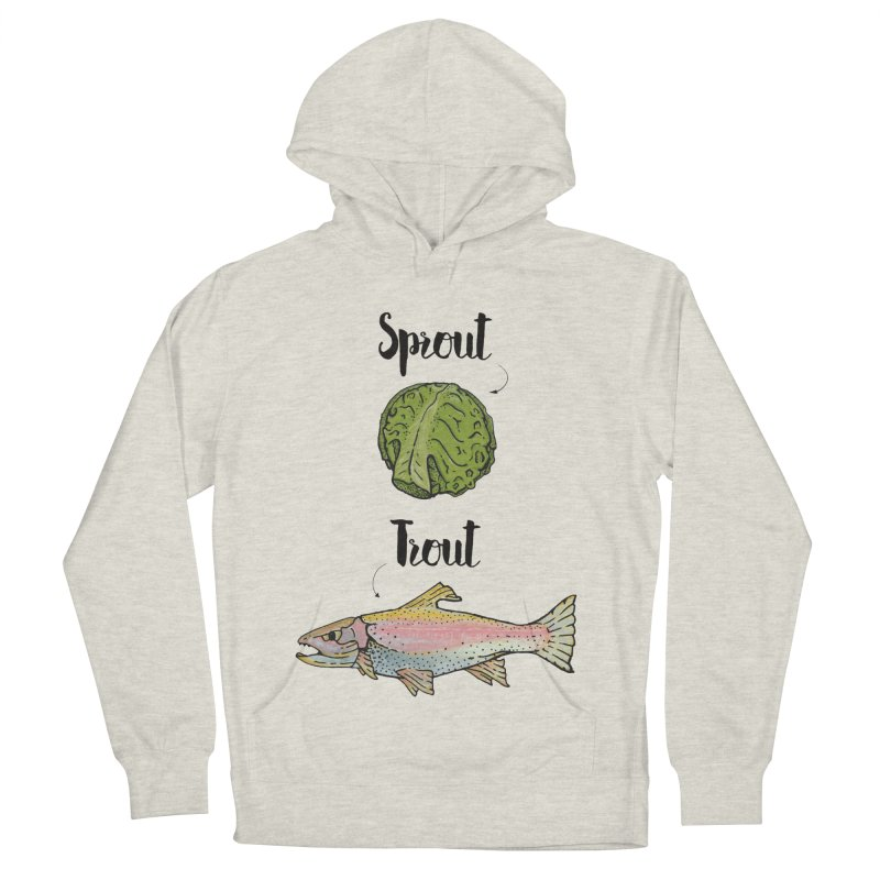 Sprout / Trout - Wordplay Illustration Men's French Terry Pullover Hoody by Kelsorian T-shirt Shop
