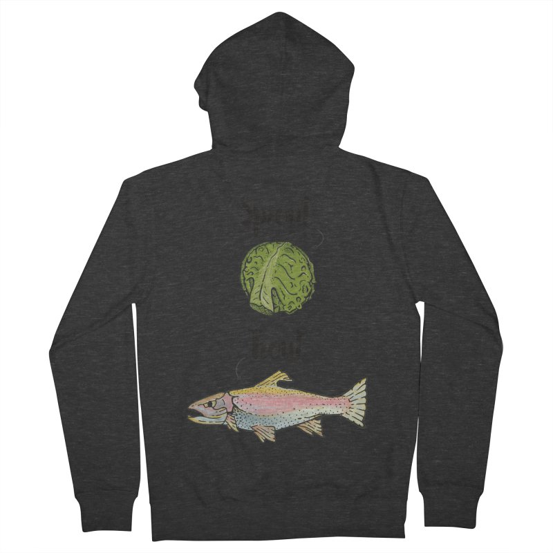 Sprout / Trout - Wordplay Illustration Women's French Terry Zip-Up Hoody by Kelsorian T-shirt Shop