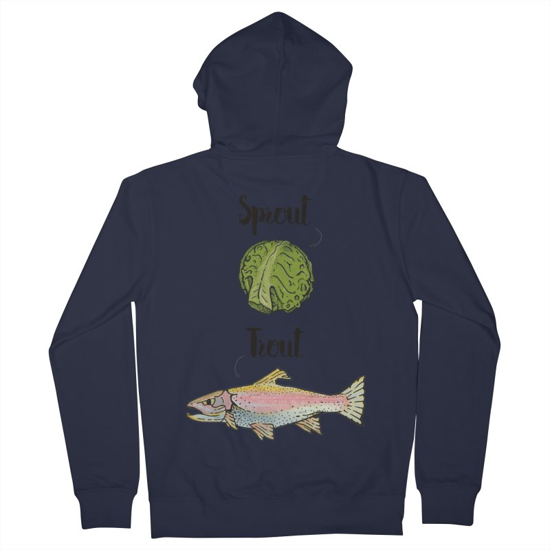 Sprout / Trout - Wordplay Illustration Women's Zip-Up Hoody by Kelsorian T-shirt Shop
