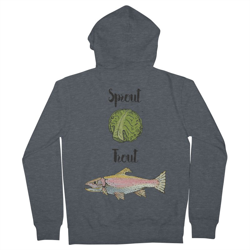 Sprout / Trout - Wordplay Illustration Men's Zip-Up Hoody by Kelsorian T-shirt Shop