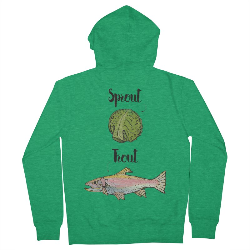 Sprout / Trout - Wordplay Illustration Men's French Terry Zip-Up Hoody by Kelsorian T-shirt Shop