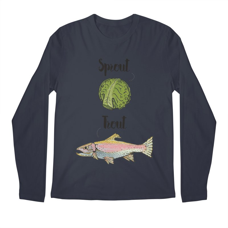 Sprout / Trout - Wordplay Illustration Men's Longsleeve T-Shirt by Kelsorian T-shirt Shop