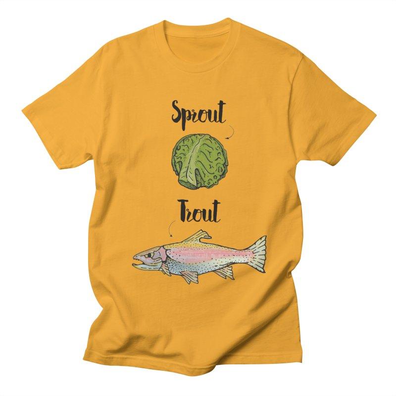 Sprout / Trout - Wordplay Illustration Men's Regular T-Shirt by Kelsorian T-shirt Shop