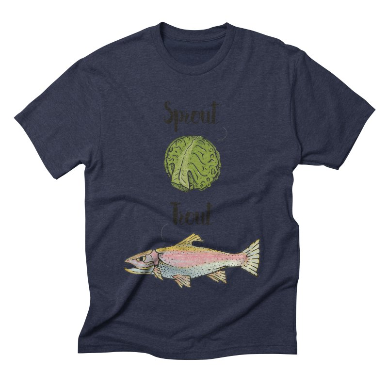 Sprout / Trout - Wordplay Illustration Men's Triblend T-Shirt by Kelsorian T-shirt Shop