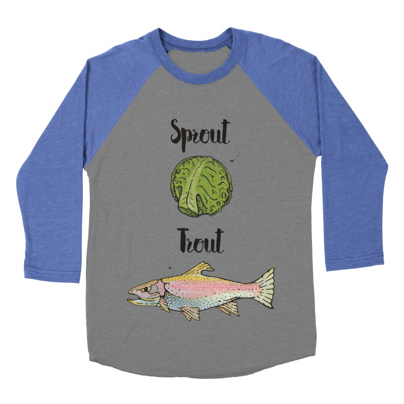 Sprout / Trout - Wordplay Illustration Women's Baseball Triblend Longsleeve T-Shirt by Kelsorian T-shirt Shop
