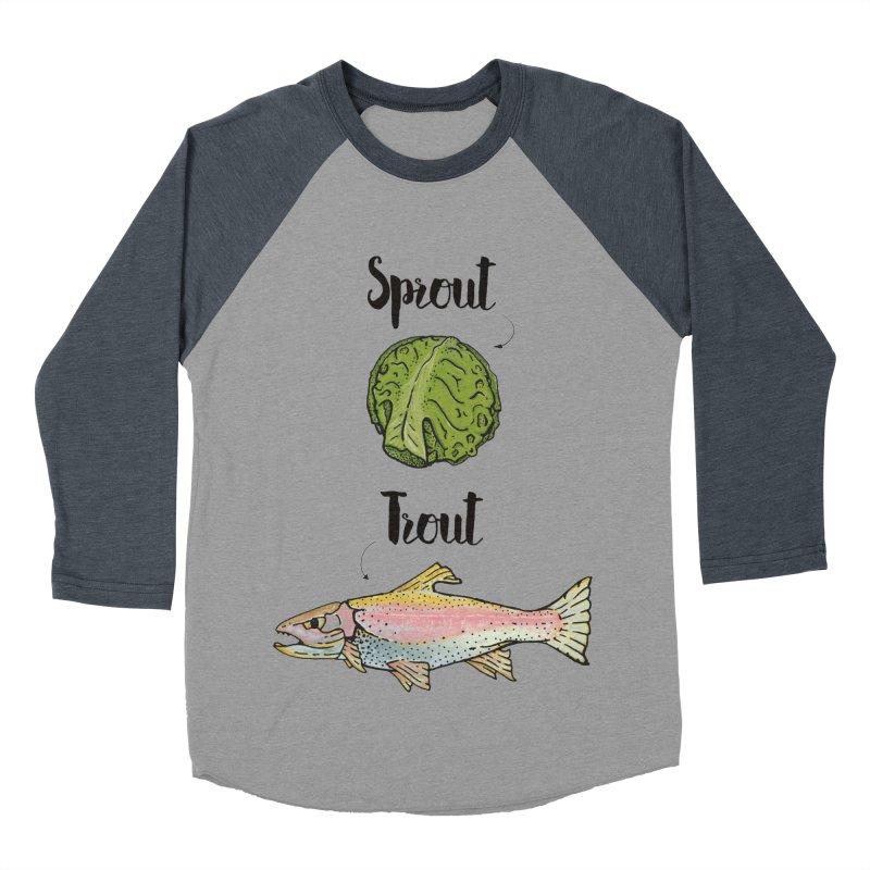 Sprout / Trout - Wordplay Illustration Women's Baseball Triblend Longsleeve T-Shirt by Kelsorian T-shirt Shop