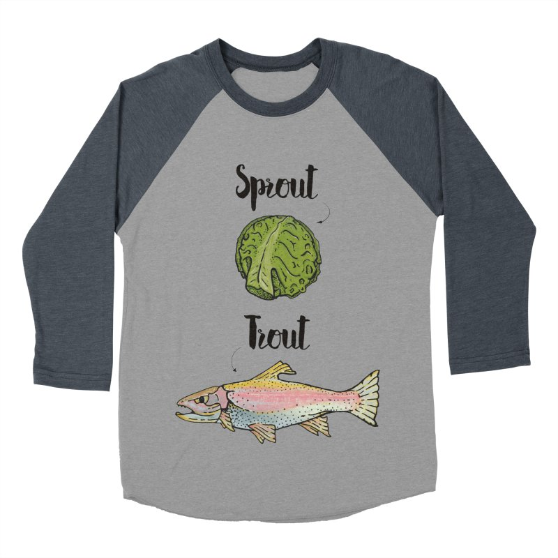 Sprout / Trout - Wordplay Illustration Men's Baseball Triblend Longsleeve T-Shirt by Kelsorian T-shirt Shop