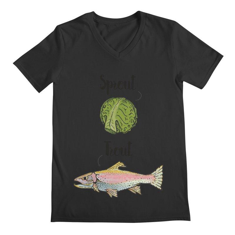 Sprout / Trout - Wordplay Illustration Men's Regular V-Neck by Kelsorian T-shirt Shop