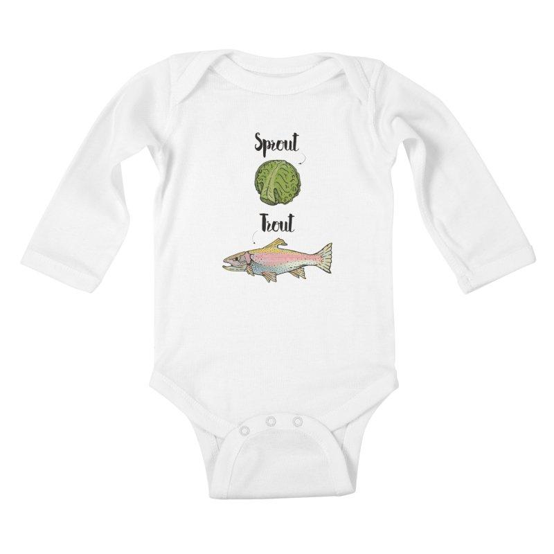 Sprout / Trout - Wordplay Illustration Kids Baby Longsleeve Bodysuit by Kelsorian T-shirt Shop