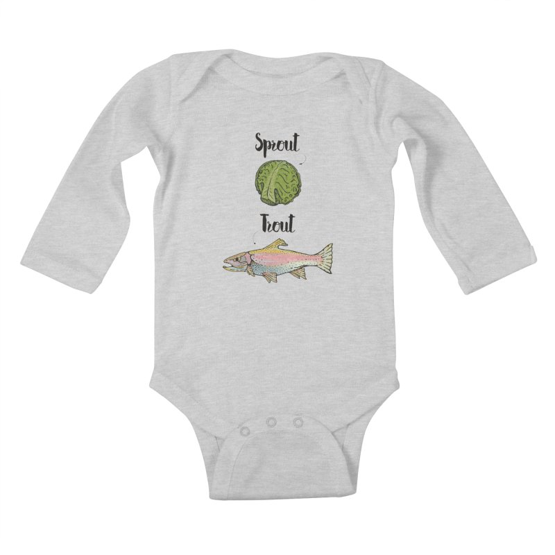 Sprout / Trout - Wordplay Illustration Kids Baby Longsleeve Bodysuit by Kelsorian T-shirt Shop