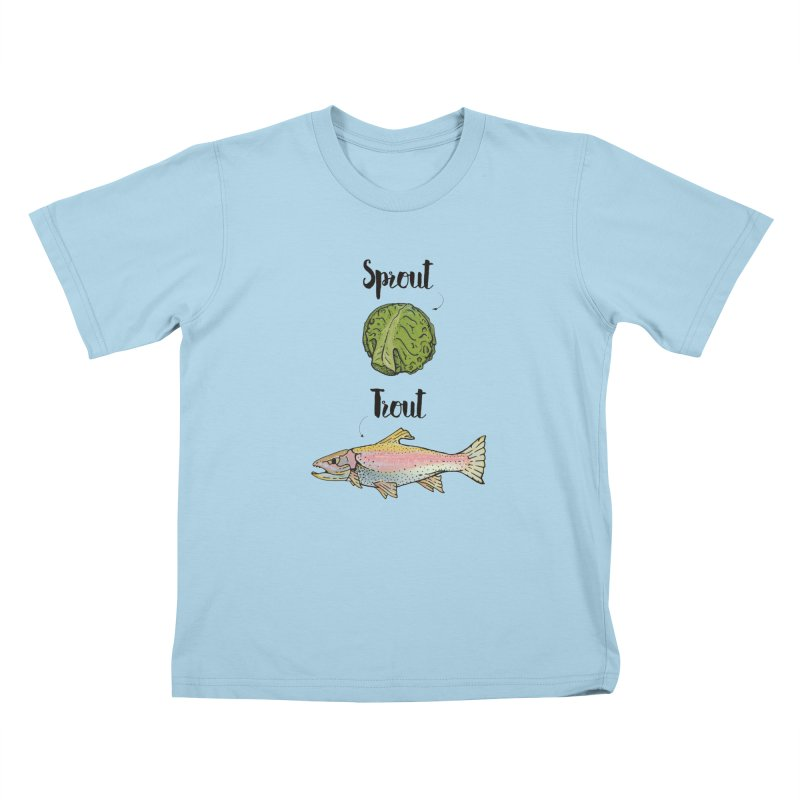 Sprout / Trout - Wordplay Illustration Kids T-Shirt by Kelsorian T-shirt Shop