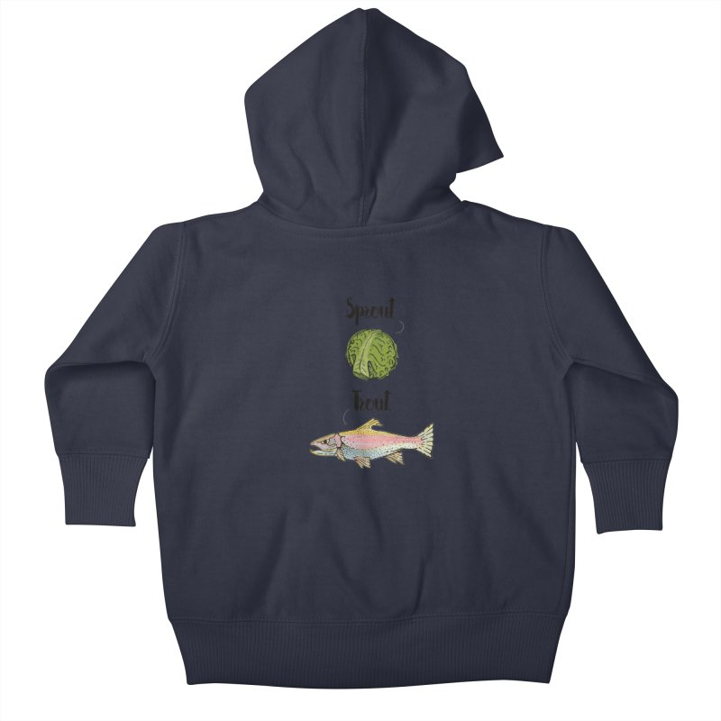 Sprout / Trout - Wordplay Illustration Kids Baby Zip-Up Hoody by Kelsorian T-shirt Shop