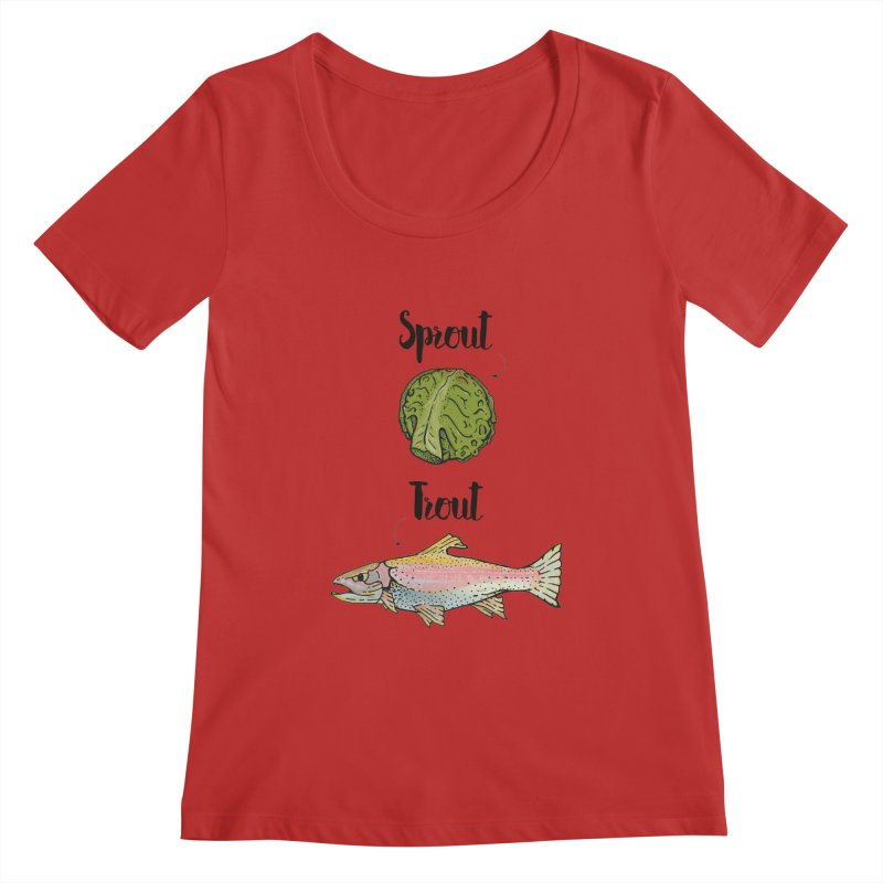 Sprout / Trout - Wordplay Illustration Women's Regular Scoop Neck by Kelsorian T-shirt Shop