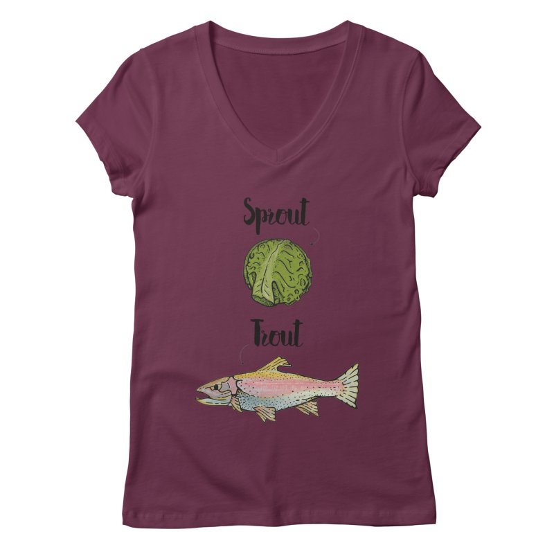 Sprout / Trout - Wordplay Illustration Women's V-Neck by Kelsorian T-shirt Shop