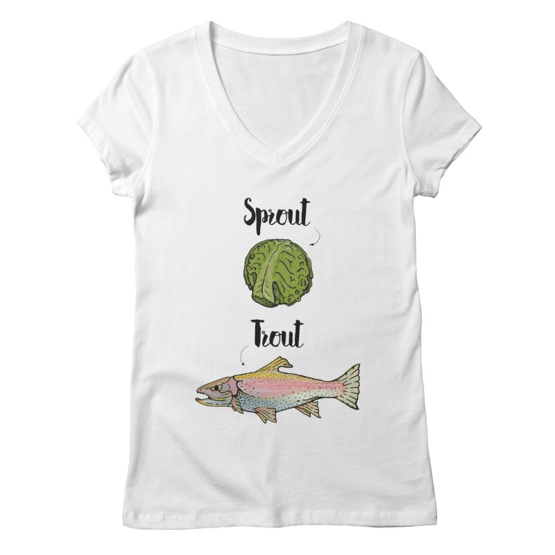 Sprout / Trout - Wordplay Illustration Women's Regular V-Neck by Kelsorian T-shirt Shop