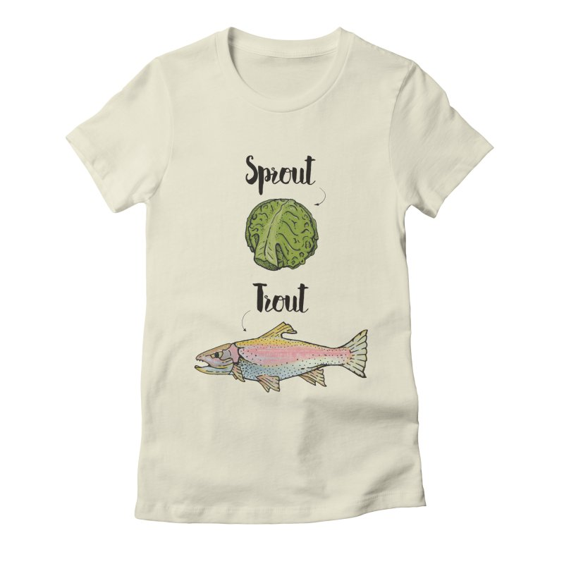 Sprout / Trout - Wordplay Illustration Women's Fitted T-Shirt by Kelsorian T-shirt Shop