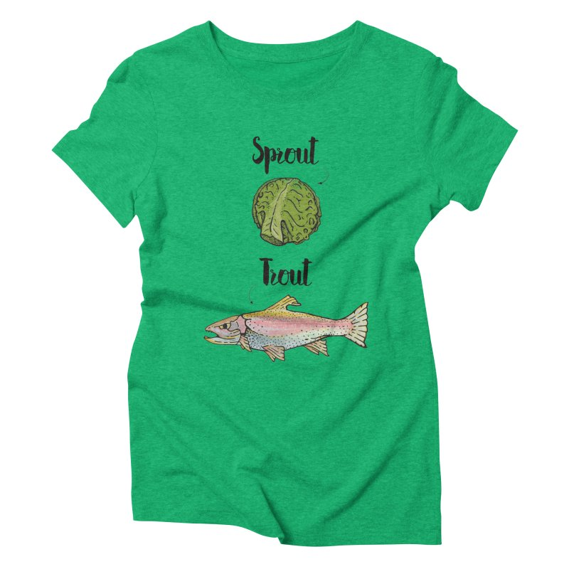 Sprout / Trout - Wordplay Illustration Women's  by Kelsorian T-shirt Shop
