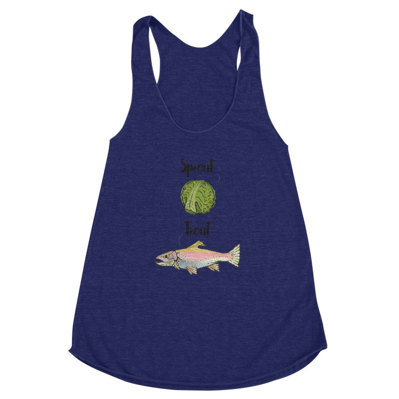 Sprout / Trout - Wordplay Illustration Women's Racerback Triblend Tank by Kelsorian T-shirt Shop