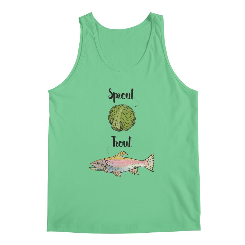 Sprout / Trout - Wordplay Illustration Men's Tank by Kelsorian T-shirt Shop