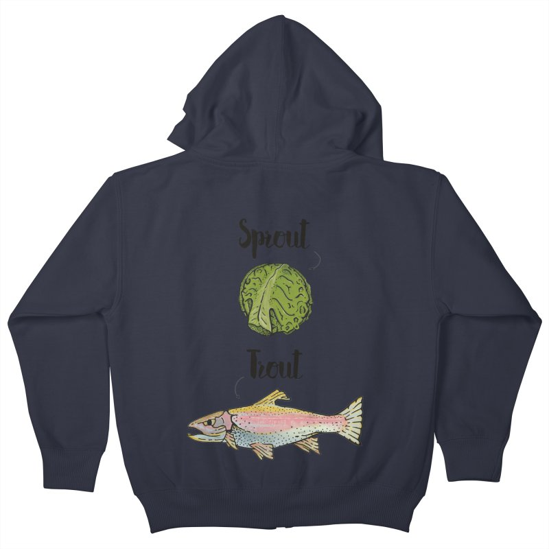 Sprout / Trout - Wordplay Illustration Kids Zip-Up Hoody by Kelsorian T-shirt Shop