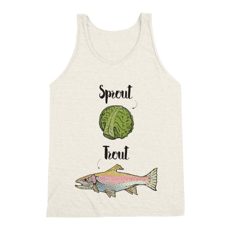 Sprout / Trout - Wordplay Illustration Men's Triblend Tank by Kelsorian T-shirt Shop