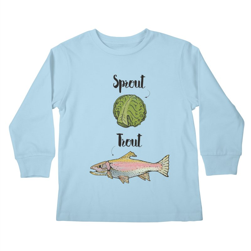 Sprout / Trout - Wordplay Illustration Kids Longsleeve T-Shirt by Kelsorian T-shirt Shop