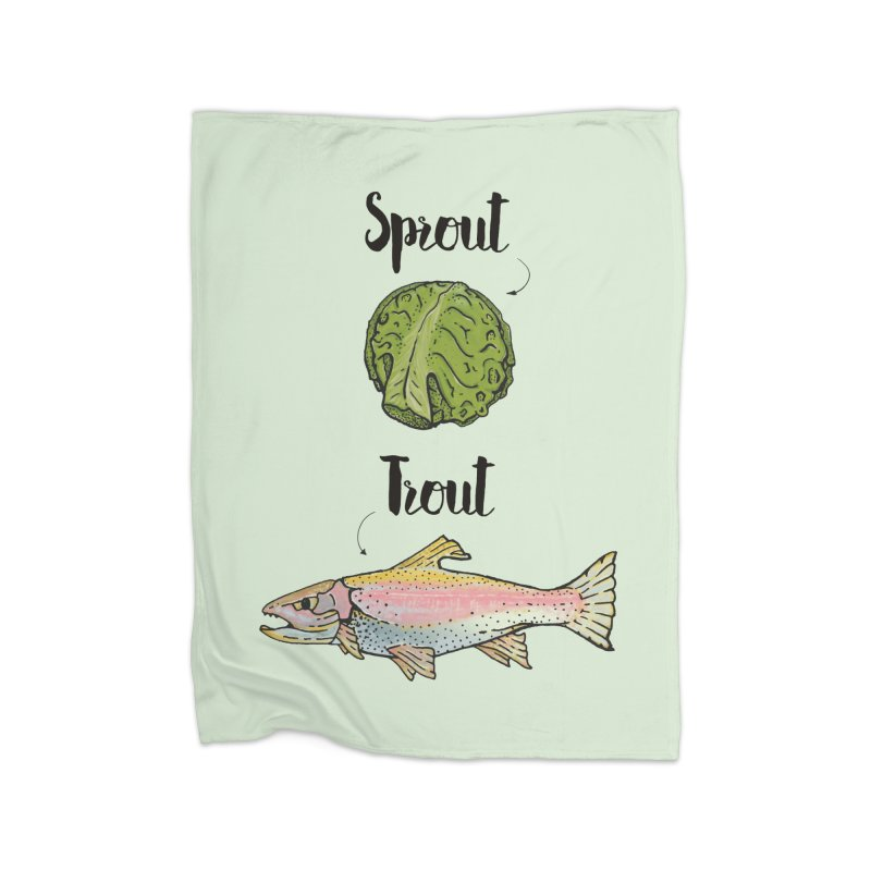 Sprout / Trout - Wordplay Illustration Home Fleece Blanket Blanket by Kelsorian T-shirt Shop