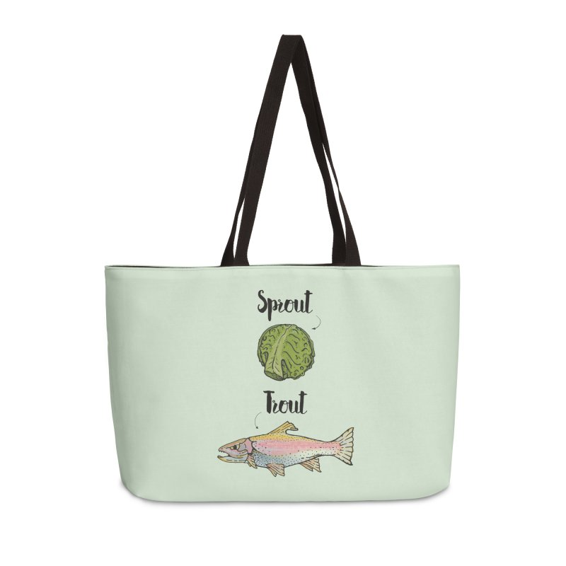Sprout / Trout - Wordplay Illustration Accessories Weekender Bag Bag by Kelsorian T-shirt Shop