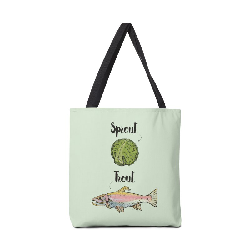 Sprout / Trout - Wordplay Illustration Accessories Tote Bag Bag by Kelsorian T-shirt Shop