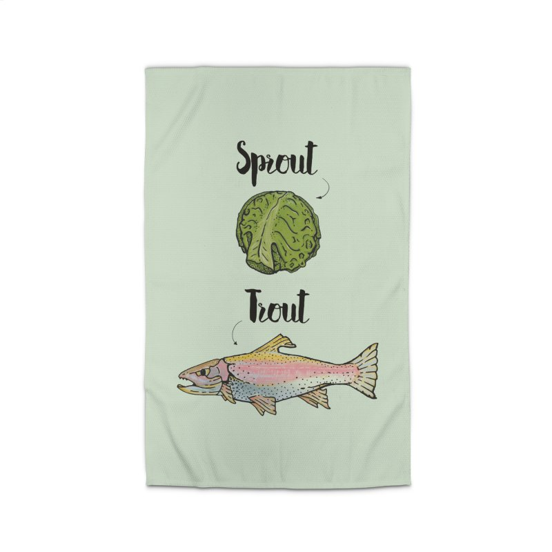 Sprout / Trout - Wordplay Illustration Home Rug by Kelsorian T-shirt Shop