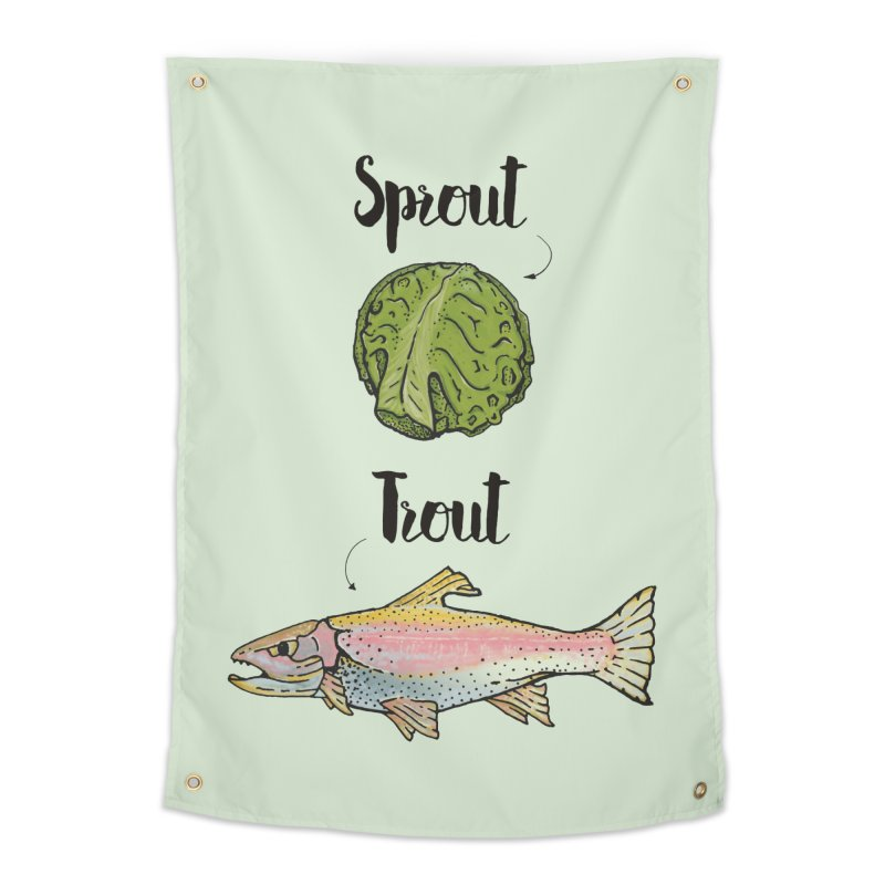 Sprout / Trout - Wordplay Illustration Home Tapestry by Kelsorian T-shirt Shop