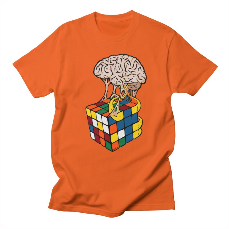 Cube Brain in Men's Regular T-Shirt Orange Poppy by Kelsorian T-shirt Shop