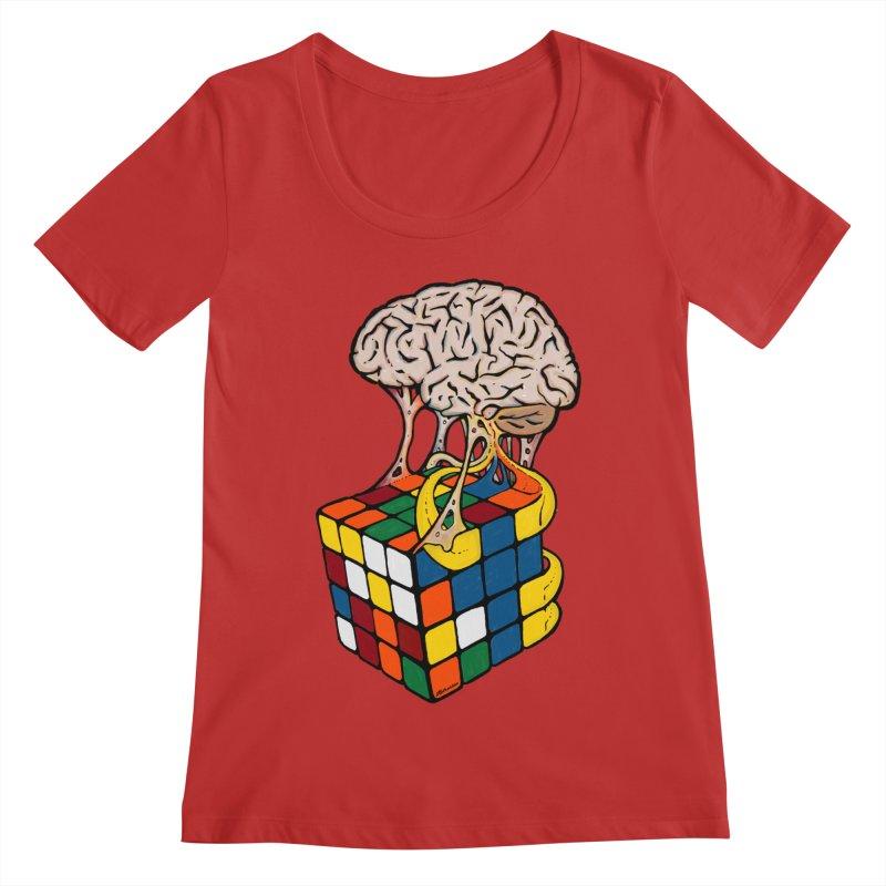 Cube Brain Women's Regular Scoop Neck by Kelsorian T-shirt Shop