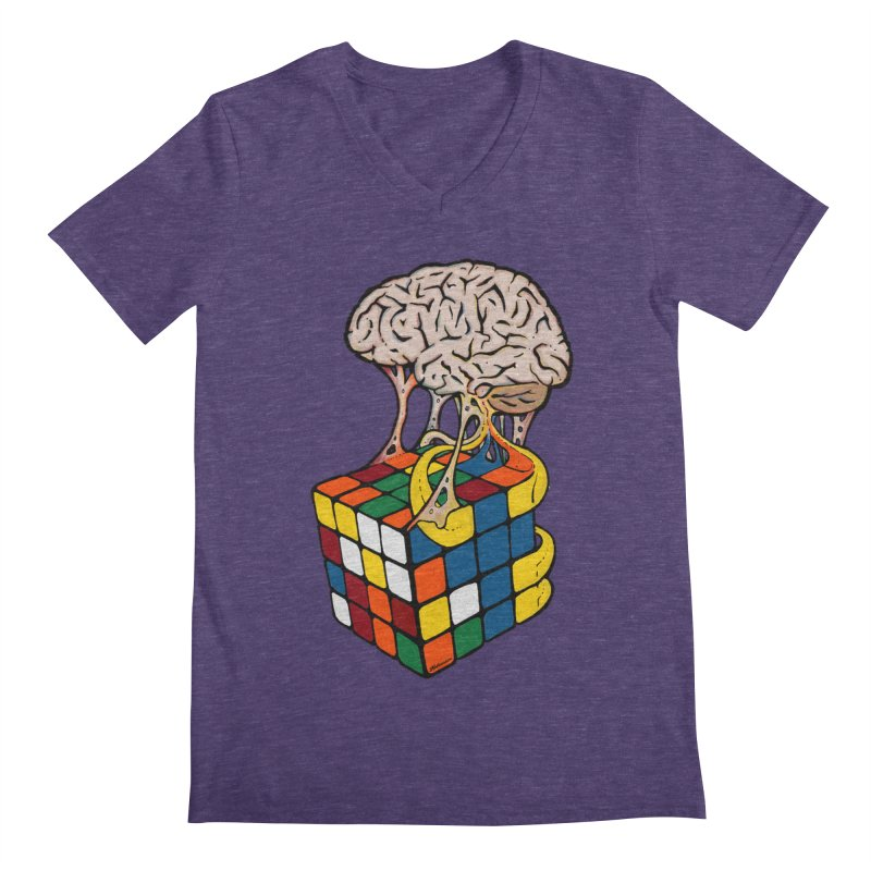 Cube Brain Men's Regular V-Neck by Kelsorian T-shirt Shop