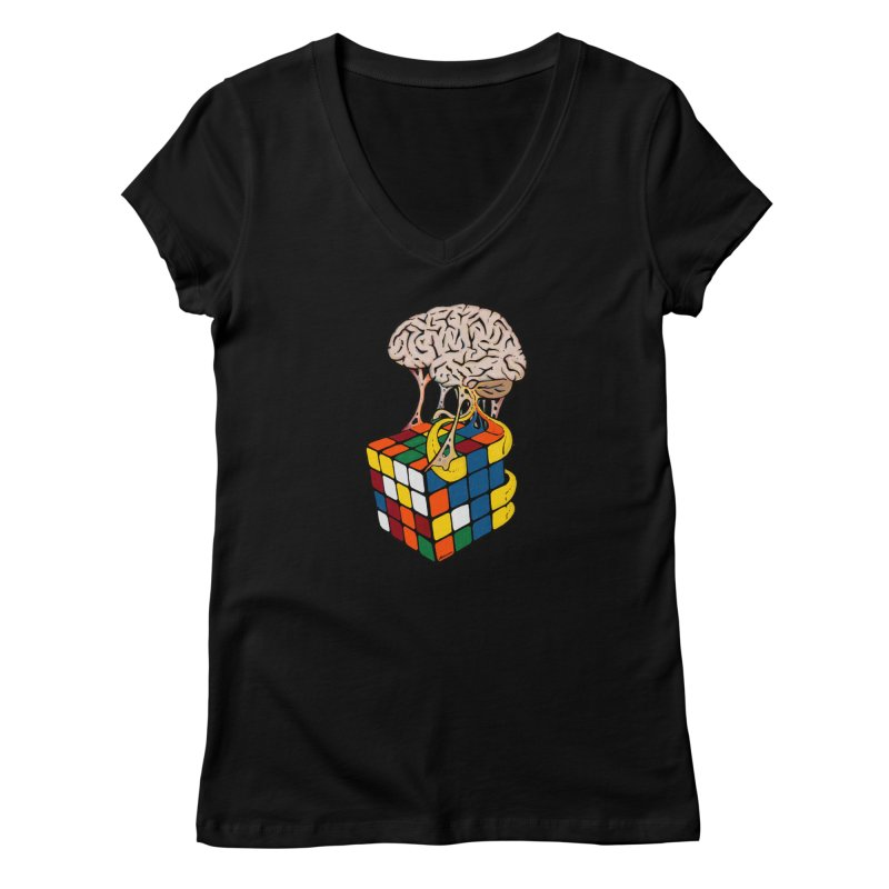 Cube Brain Women's V-Neck by Kelsorian T-shirt Shop
