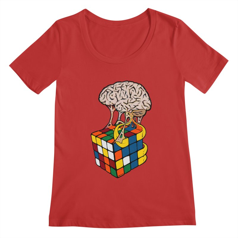 Cube Brain Women's Regular Scoop Neck by Kelsorian T-shirt Shop