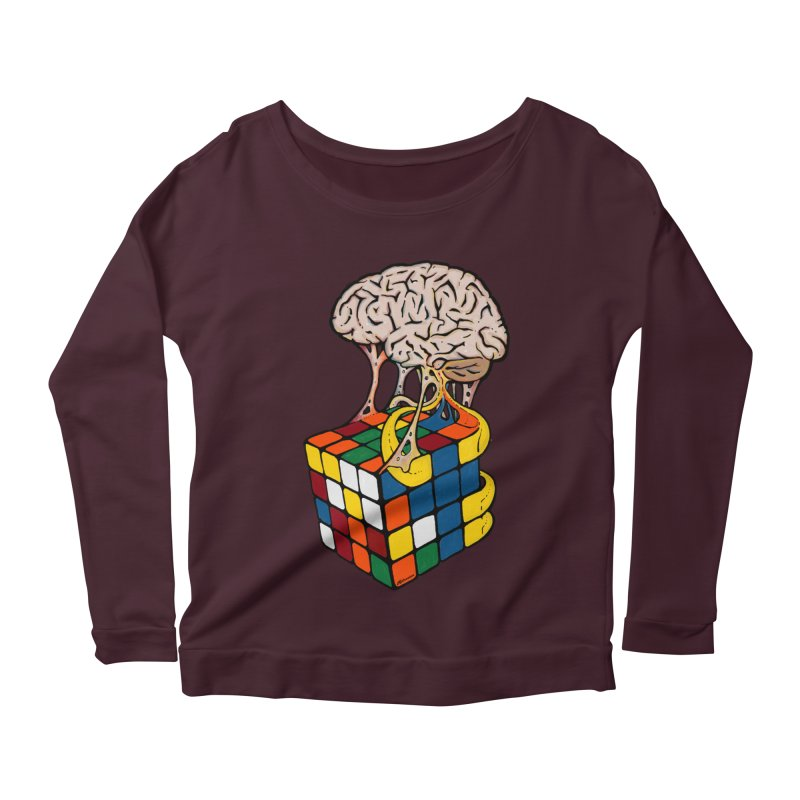 Cube Brain Women's Scoop Neck Longsleeve T-Shirt by Kelsorian T-shirt Shop