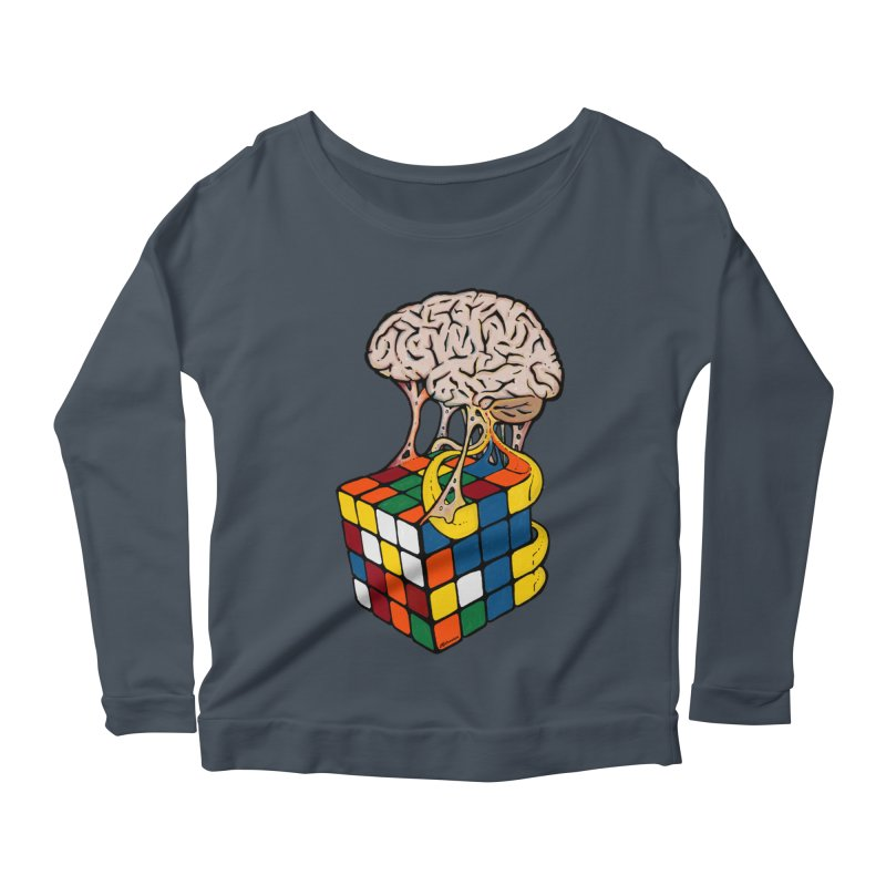 Cube Brain Women's Scoop Neck Longsleeve T-Shirt by Kelsorian T-shirt Shop