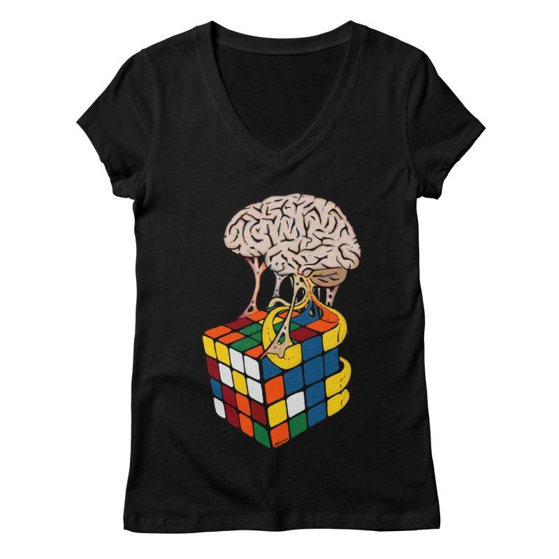 Cube Brain Women's Regular V-Neck by Kelsorian T-shirt Shop