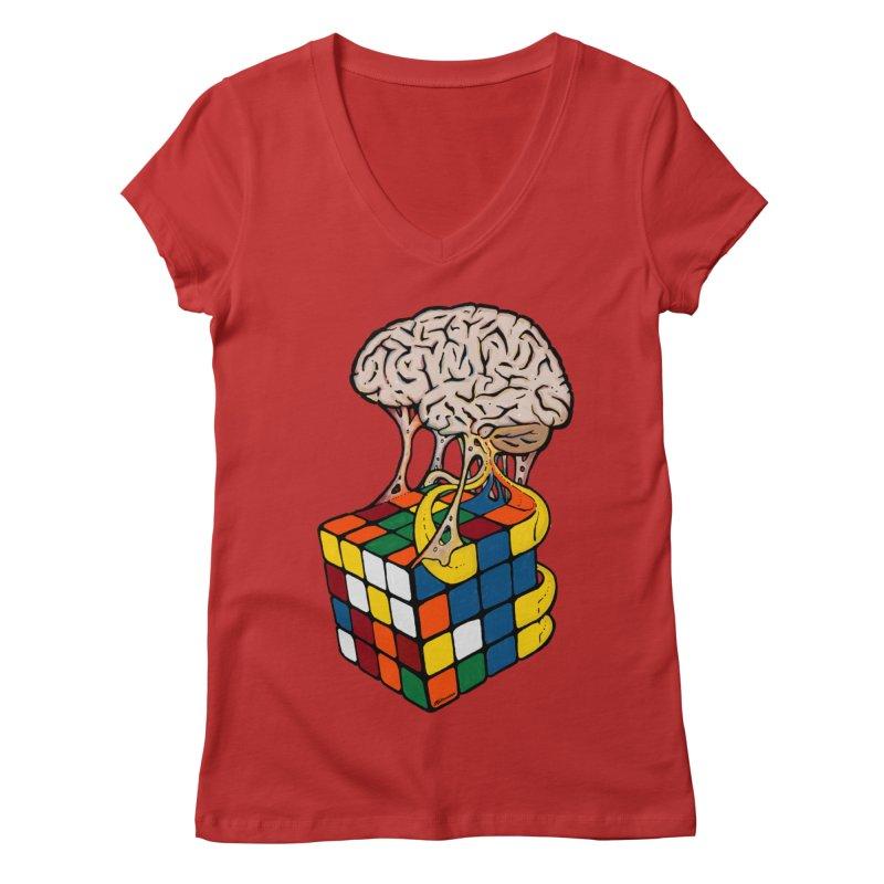 Cube Brain Women's V-Neck by Kelsorian T-shirt Shop