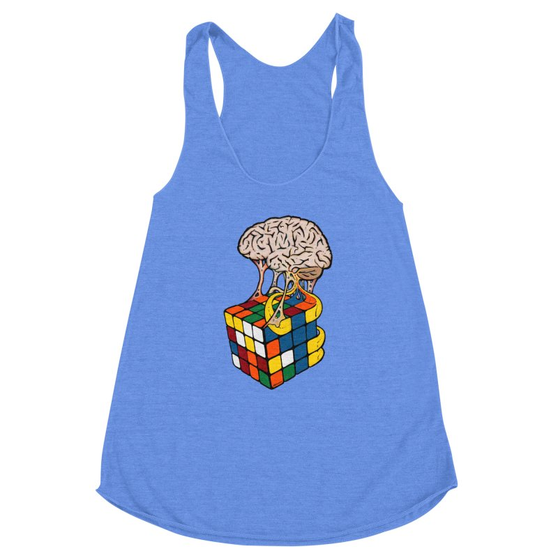 Cube Brain Women's Racerback Triblend Tank by Kelsorian T-shirt Shop