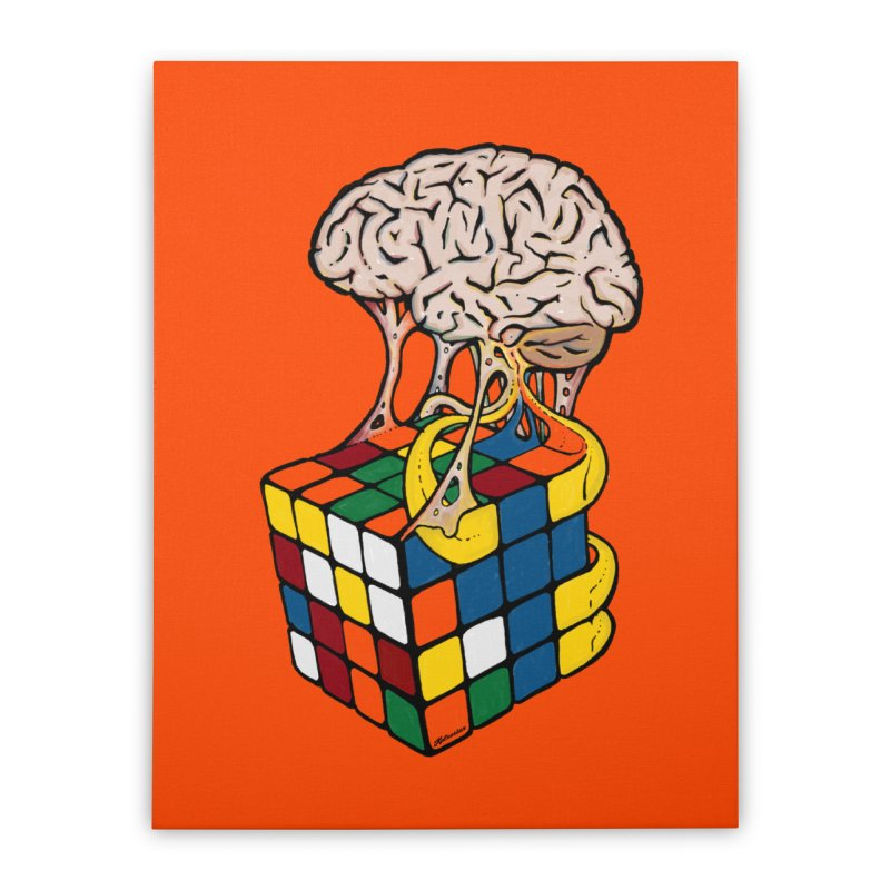 Cube Brain Home Stretched Canvas by Kelsorian T-shirt Shop