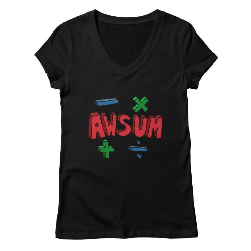 AwSum Women's V-Neck by Kelsorian T-shirt Shop